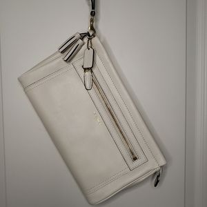 Coach Legacy Large Clutch, White, Off-White